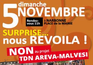 MANIFESTATION CONTRE LE PROJET D'AREVA-MALVESI LE 5 NOVEMBRE 2017 à 11H