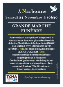INVITATION A LA MARCHE FUNEBRE DU 24 NOVEMBRE À NARBONNE