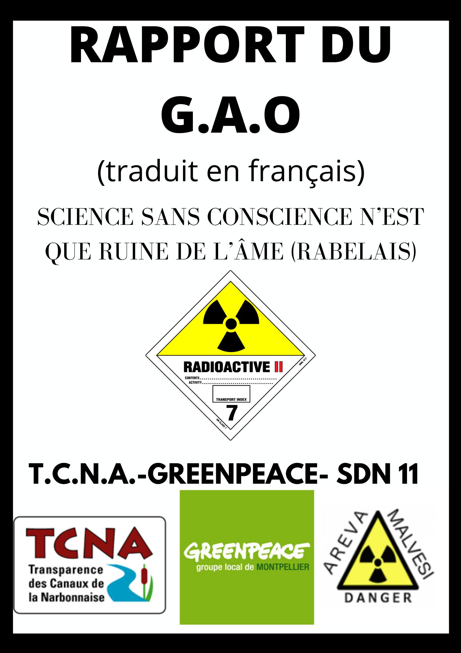 TRADUCTION COMPLETE DU RAPPORT du G.A.O